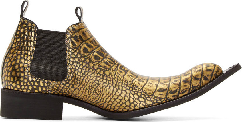 Comme Des Gar 231 Ons Gold Embossed Leather Winklepickers In