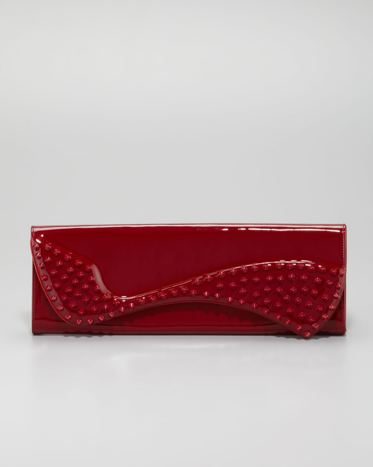 Christian louboutin Pigalle Spikes Patent Clutch Bag Red ...