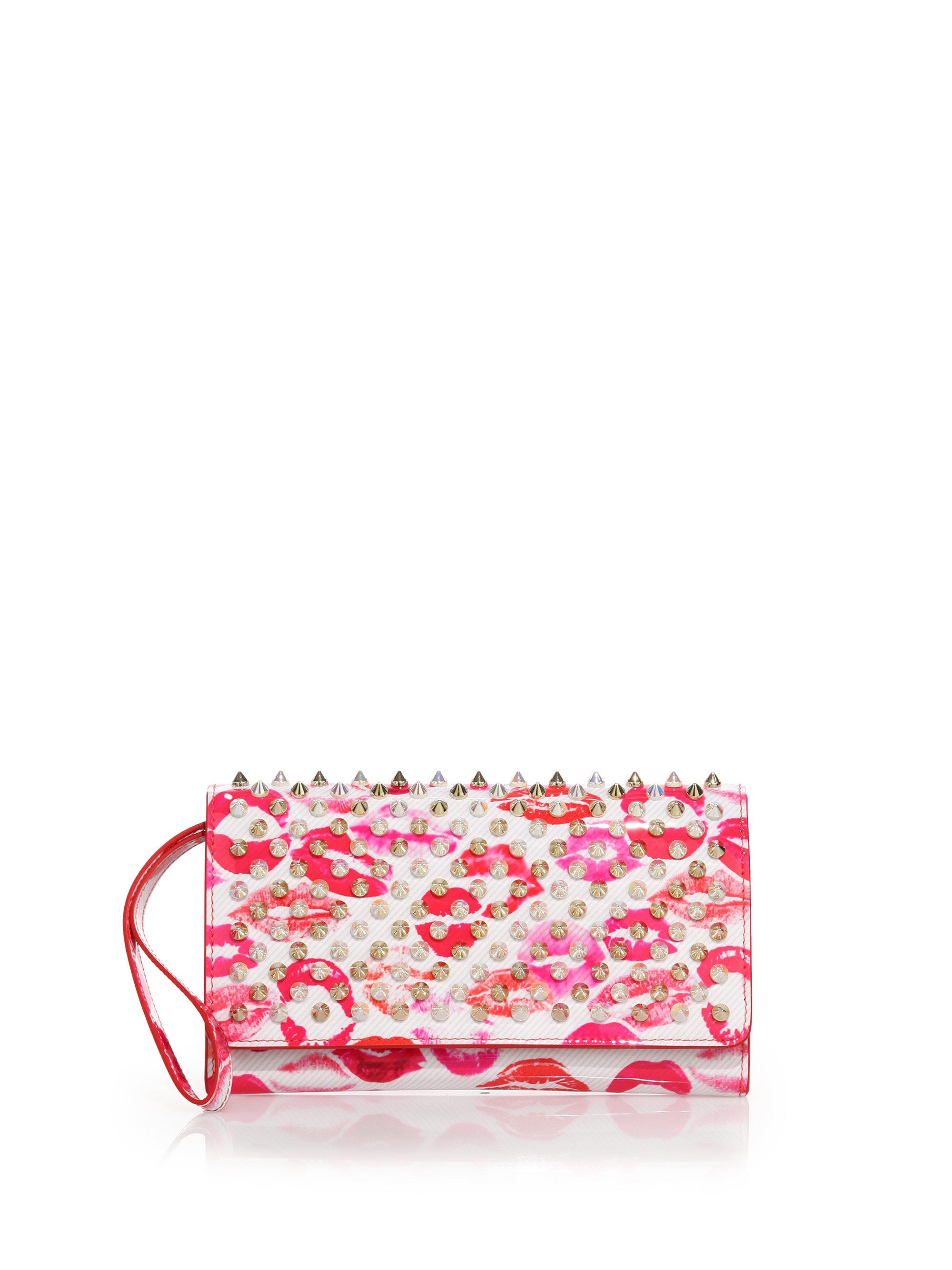 645eaec71c9 Christian Louboutin Pink Macaron Lips Studded Leather Wallet