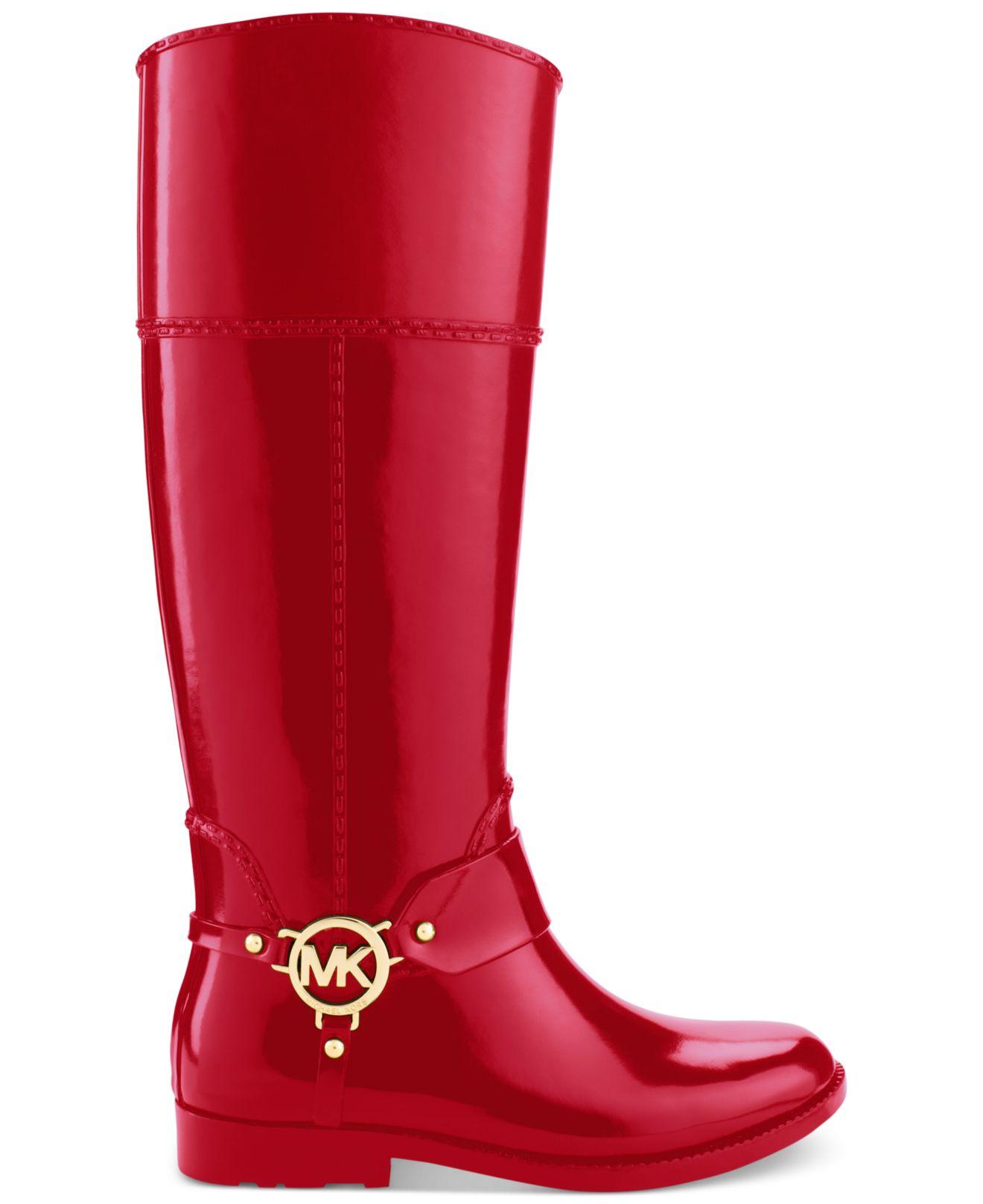 Michael kors Michael Fulton Harness Rain Boots in Red | Lyst