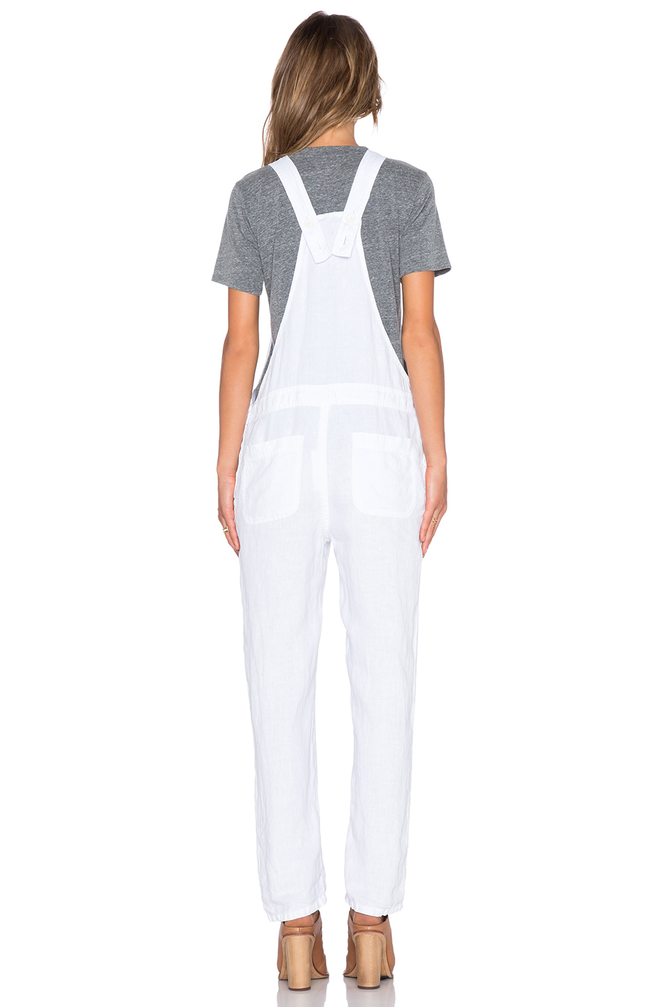91f7660a8b Lyst - James Perse Linen Overalls in White