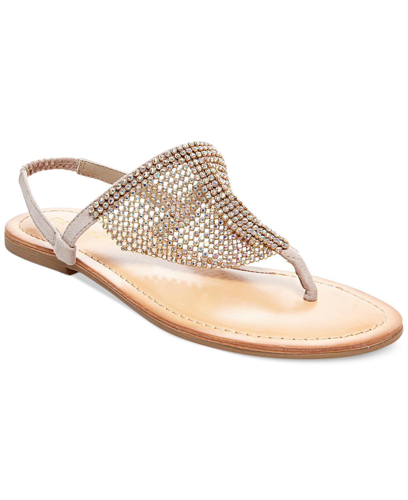 e9e962ef6 Lyst - Madden Girl Sandie Rhinestone Hooded Flat Thong Sandals in ...
