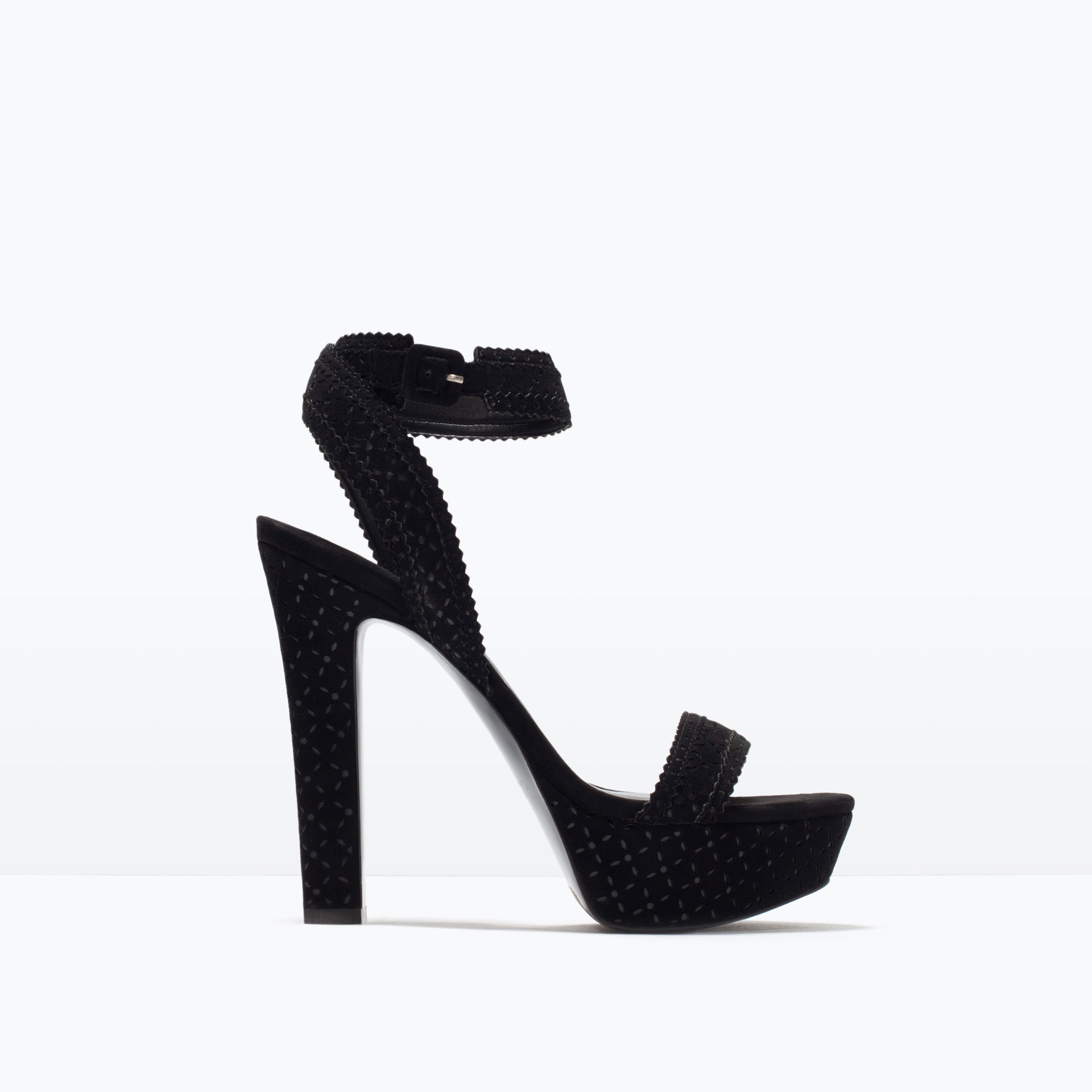 AXE Platform Block Heel Sandals - Black Leather Style Sold by Spy Love Buy £