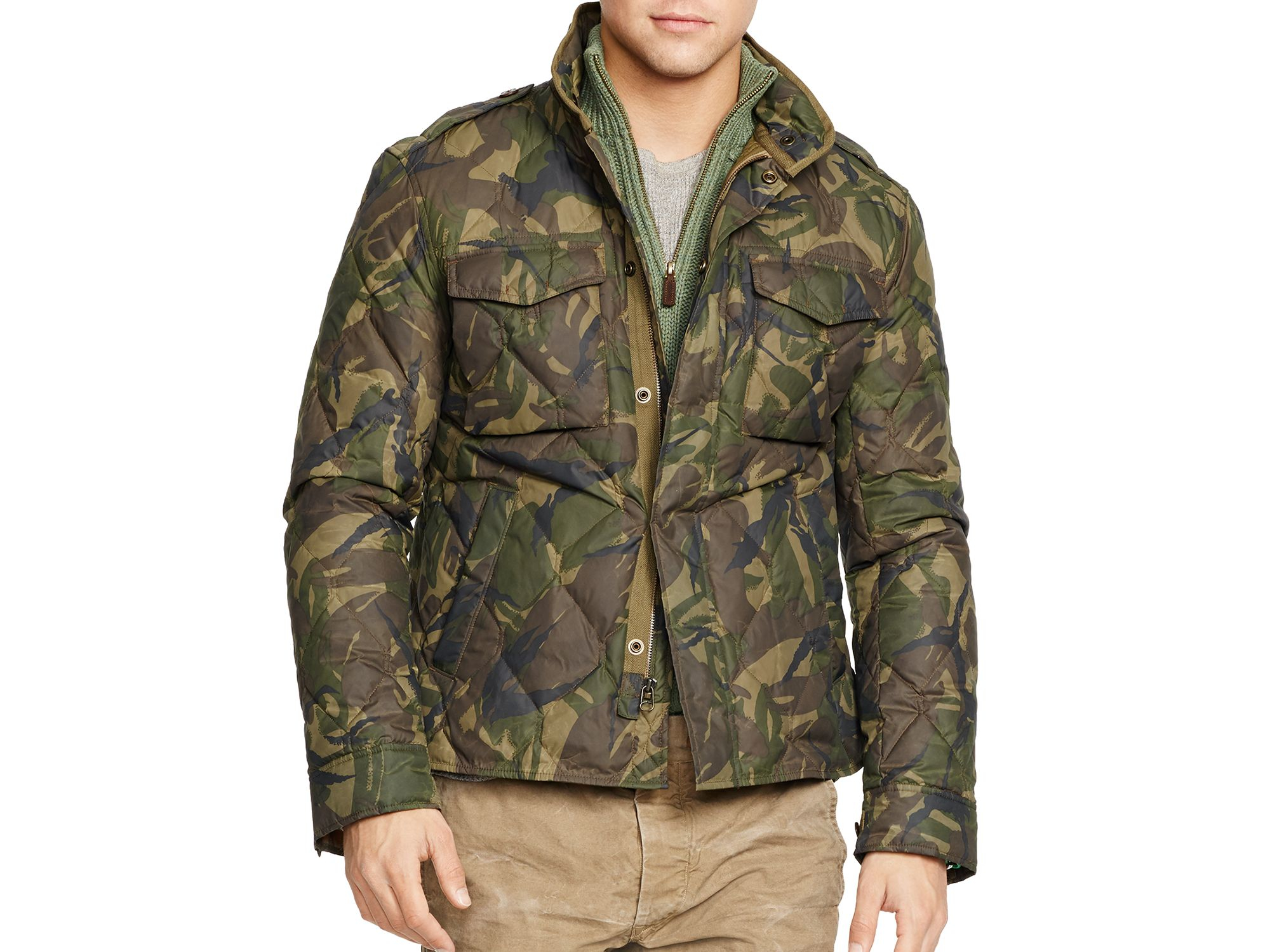 Lyst Ralph Lauren Polo Quilted Camo Print Puffer Shirt Jacket In Green For Men