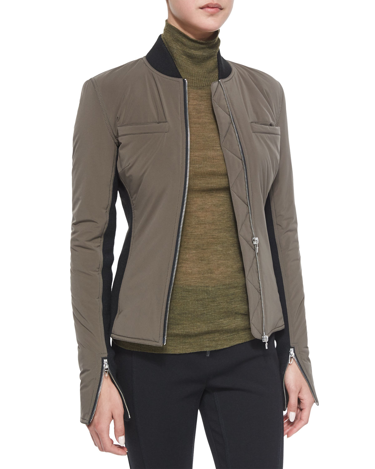 T by alexander wang Race Suit Fitted Zip Bomber Jacket in Green | Lyst