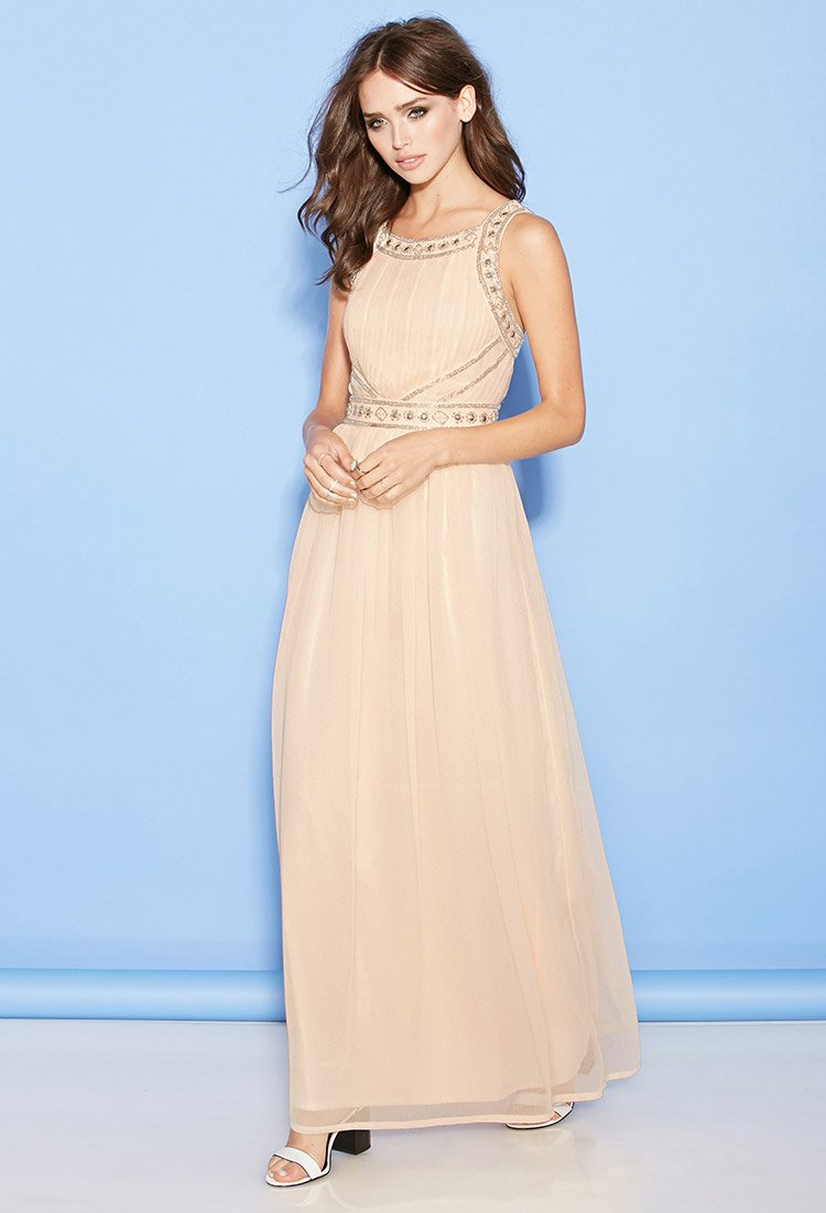 forever 21 beaded chiffon maxi dress in lyst