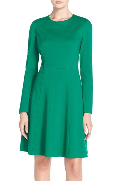 Lyst Eliza J Long Sleeve Ponte Fit Amp Flare Dress In Green