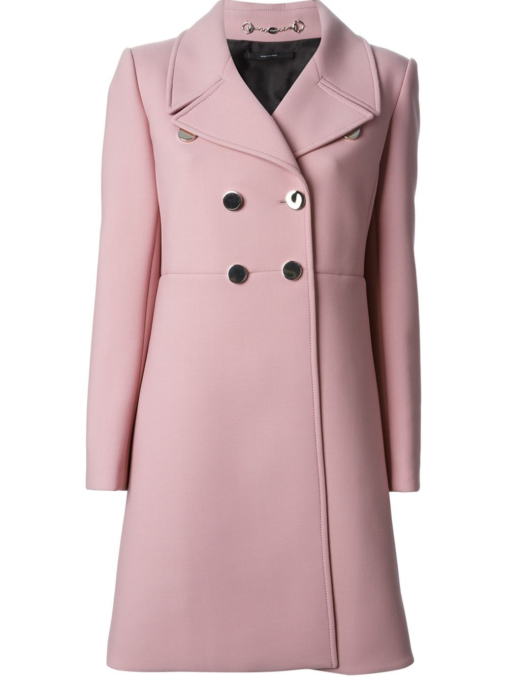 New Lyst - Gucci Silver Button Coat in Pink XF69