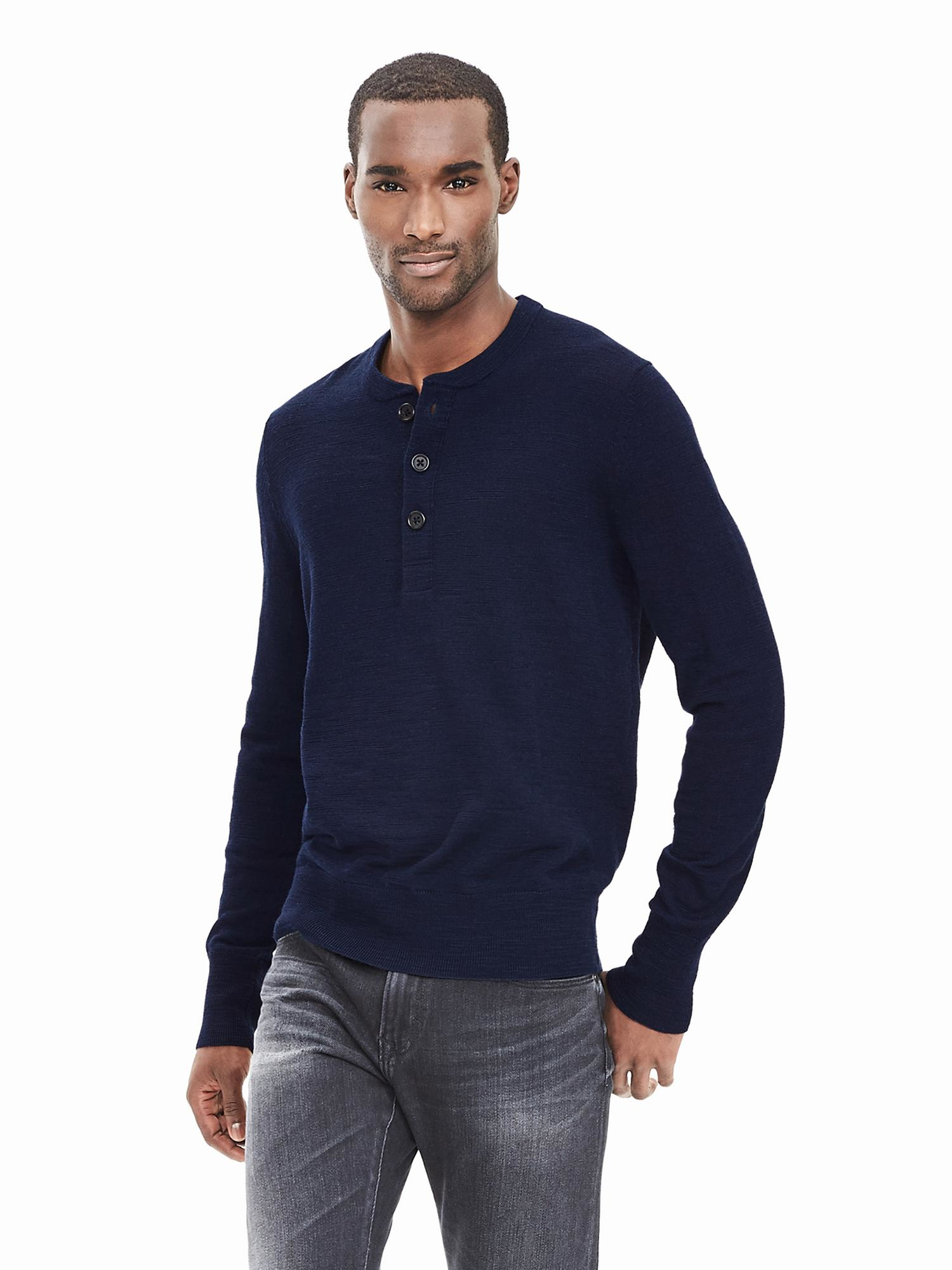 Extra Fine Merino Wool Henley Sweater Pullover