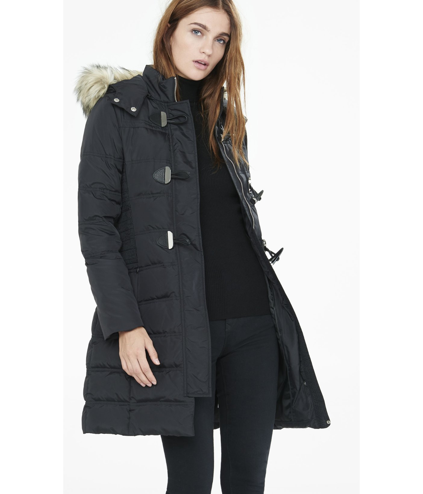 Express Long Down Filled Toggle Puffer Coat in Black | Lyst