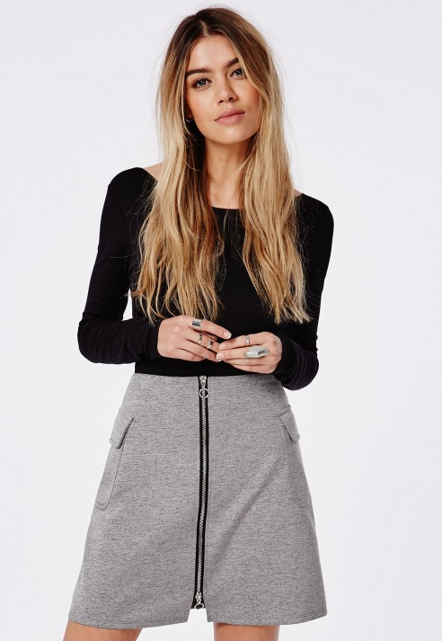 Missguided Front Zip Side Pocket Detail A Line Skirt Grey in Gray ...