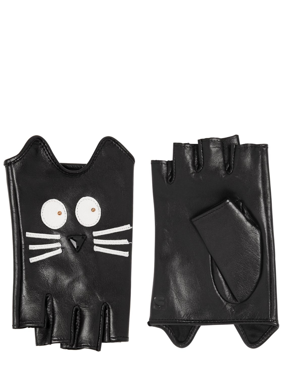 Fingerless leather gloves mens accessories - Gallery