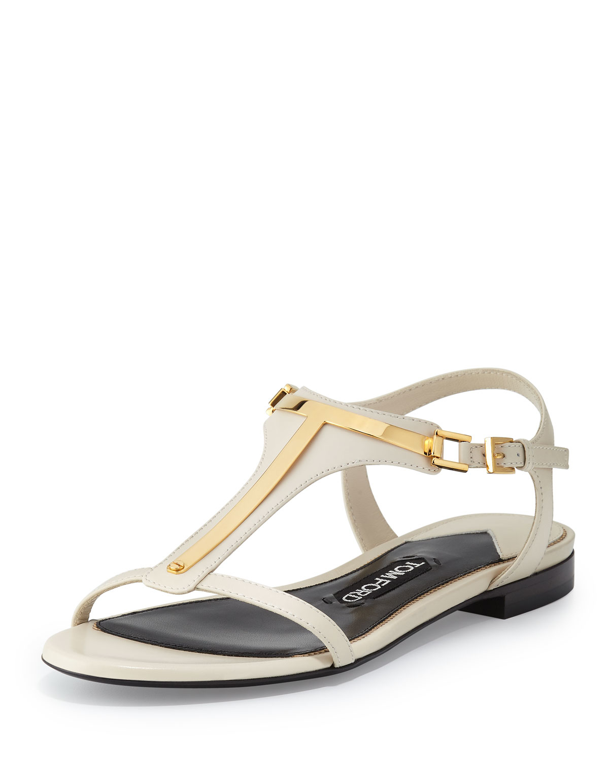 tom ford metallic t leather sandal in white lyst