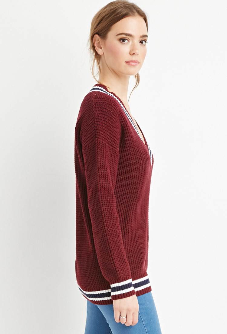 Forever 21 Varsity Striped Waffle Knit Sweater In Purple
