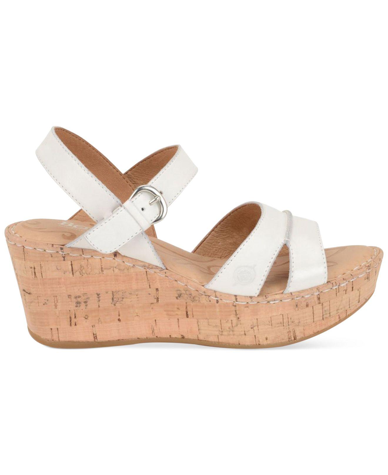 born tayen platform wedge sandals in white lyst