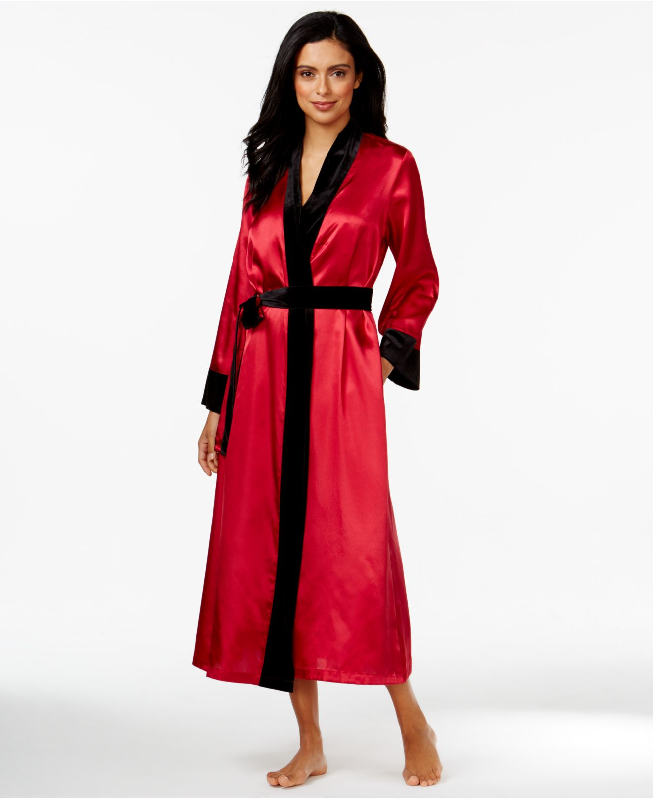 lyst morgan taylor long satin robe with velour trim in black