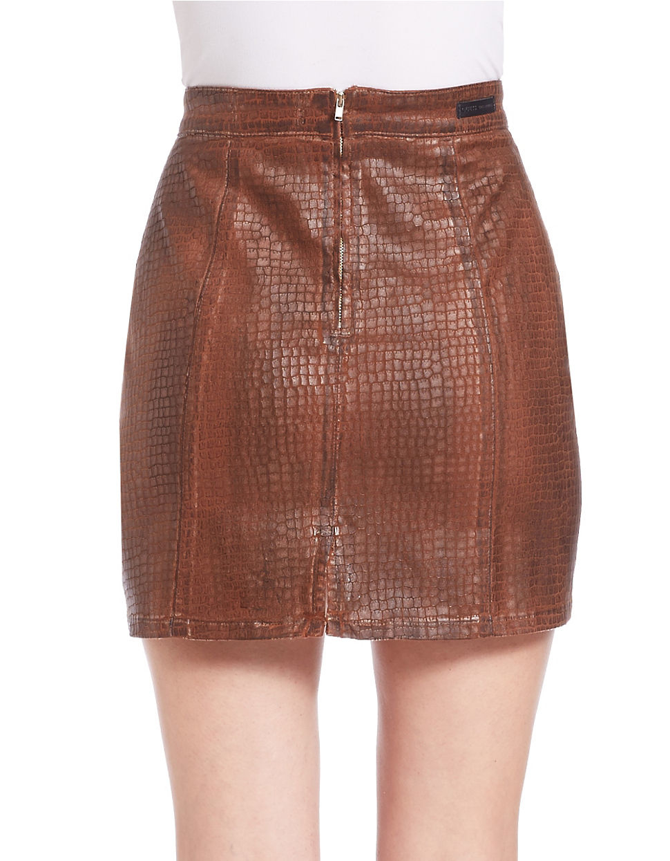 Guess Croc-embossed Faux Leather Skirt in Brown | Lyst