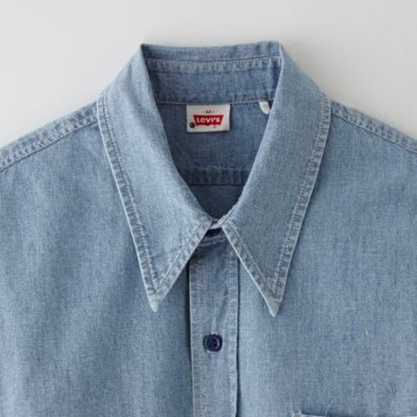 Levi S Chambray Shirt Orange Tab In Blue For Men The Fuzz