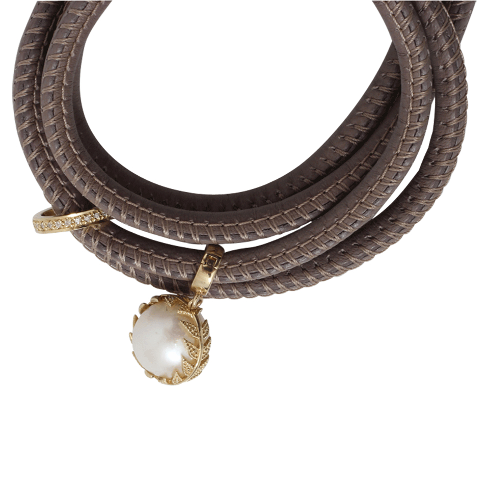 Mizuki Convertible Leather Necklace/Bracelet with Double-Pearl Slider aacERFaJr