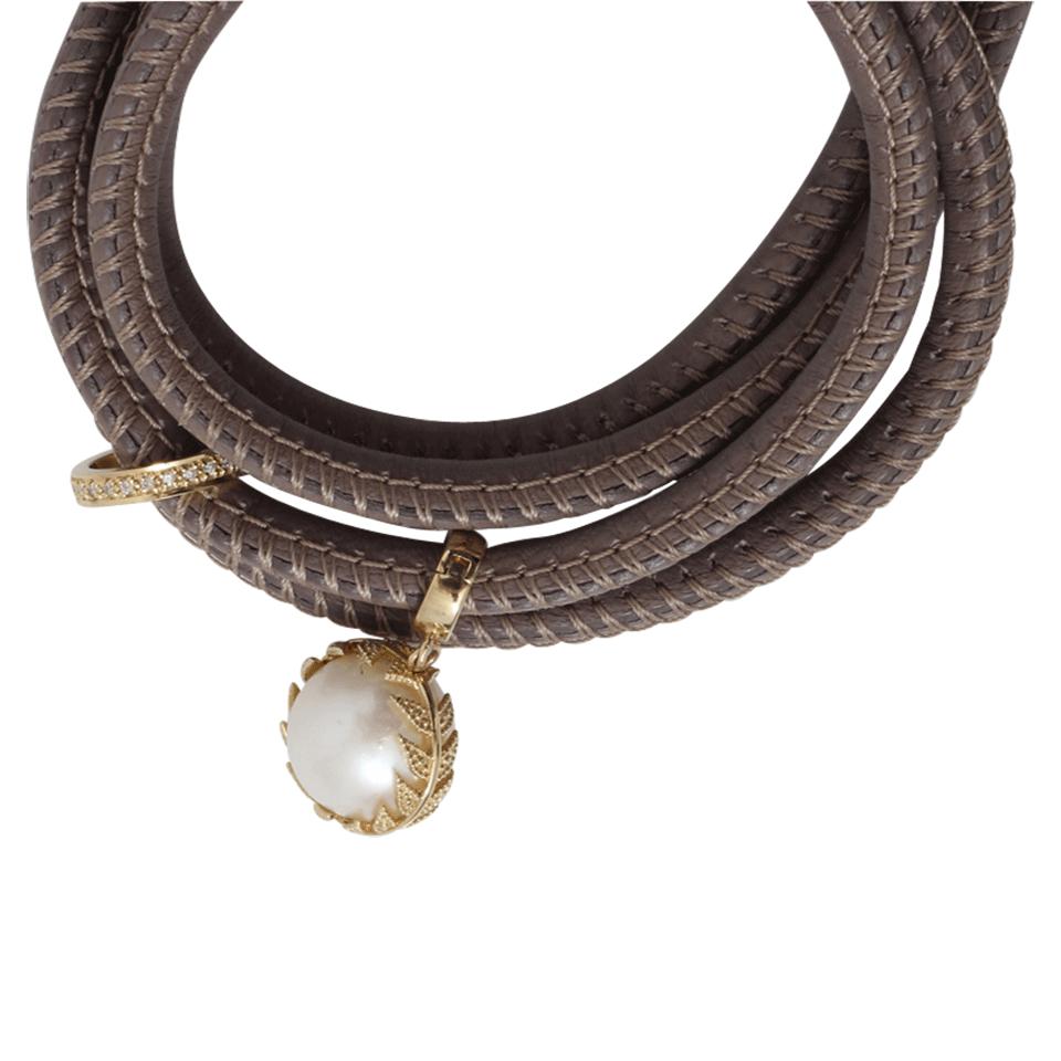 Mizuki Convertible Leather Wrap Bracelet/Choker with Pearl Slider FHkK8pBVV