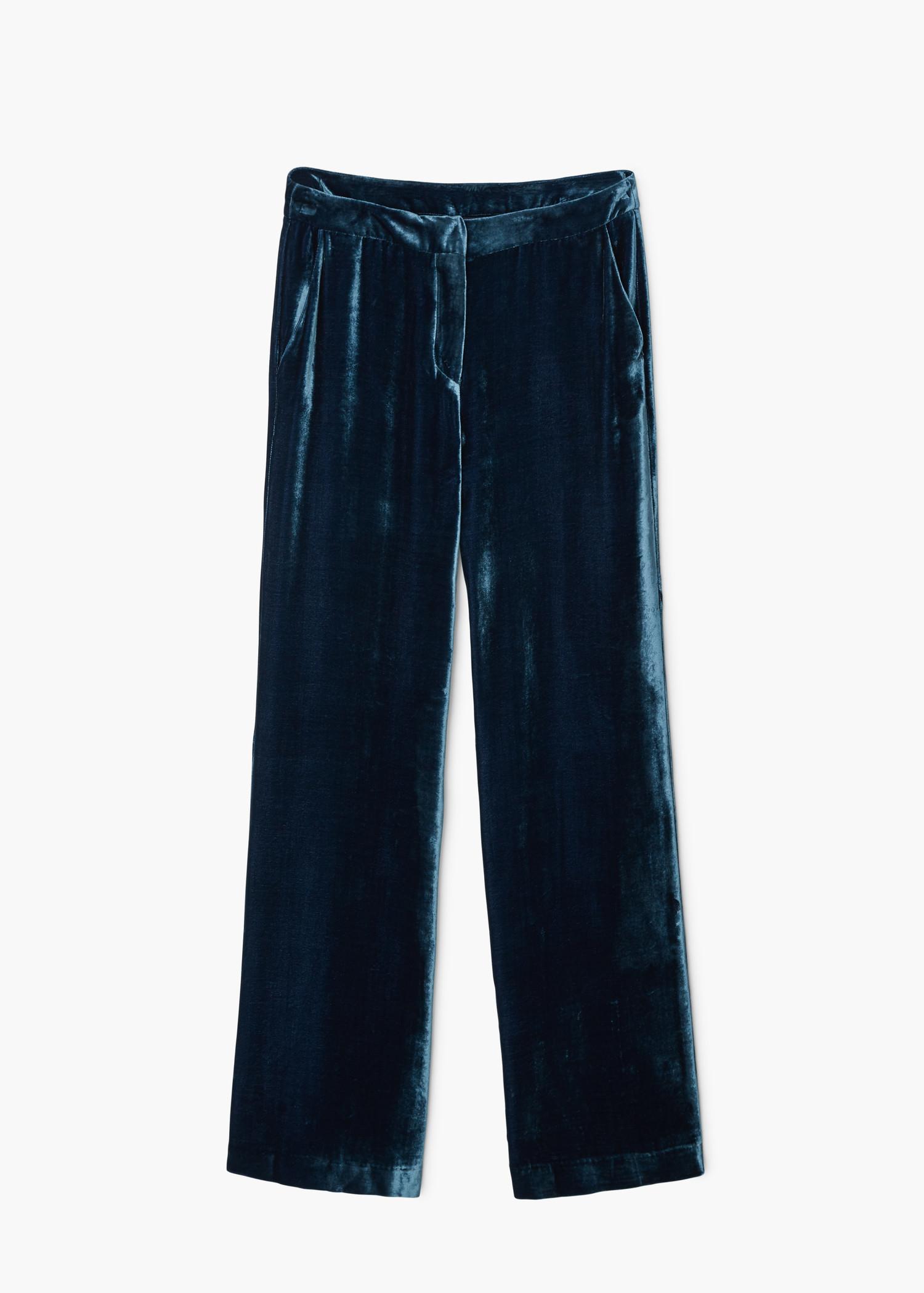 Mango Velvet Trousers in Blue