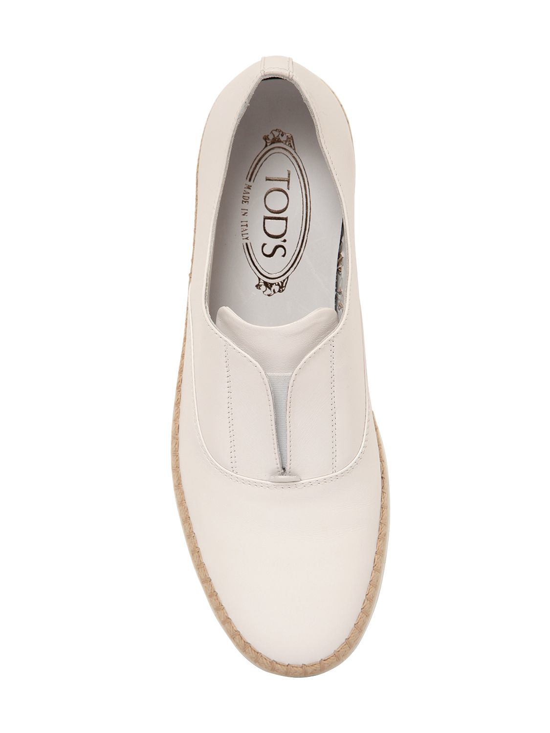 Tod's 20mm Leather & Raffia Slip-on Sneakers in White