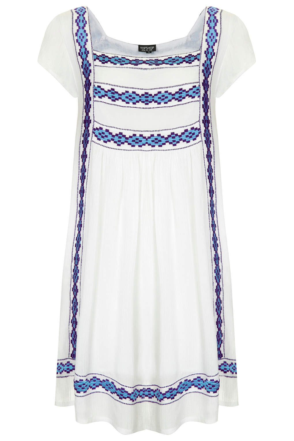 Lyst topshop womens crinkle embroidered smock dress