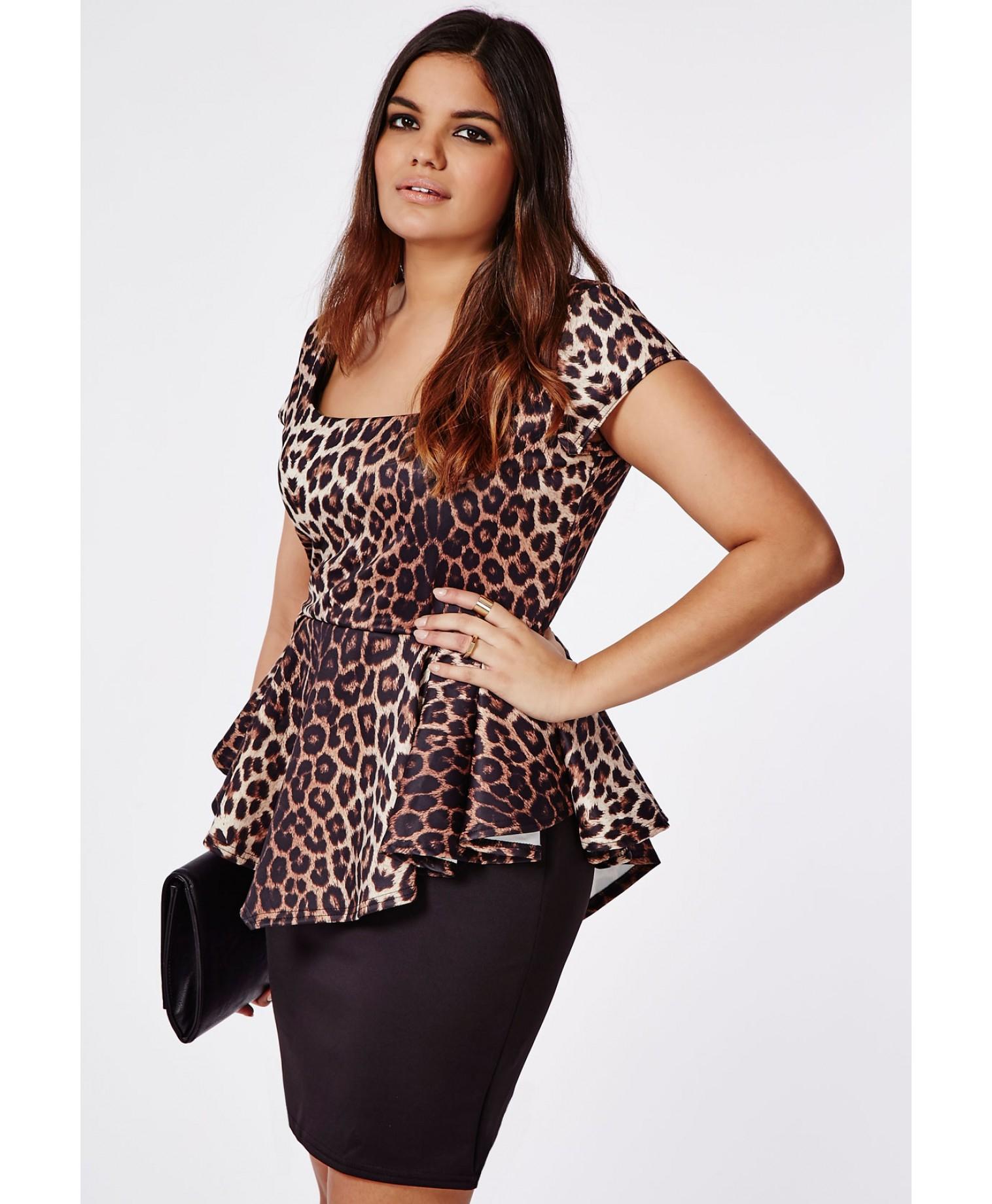 Plus Size Leopard Print Peplum Dress