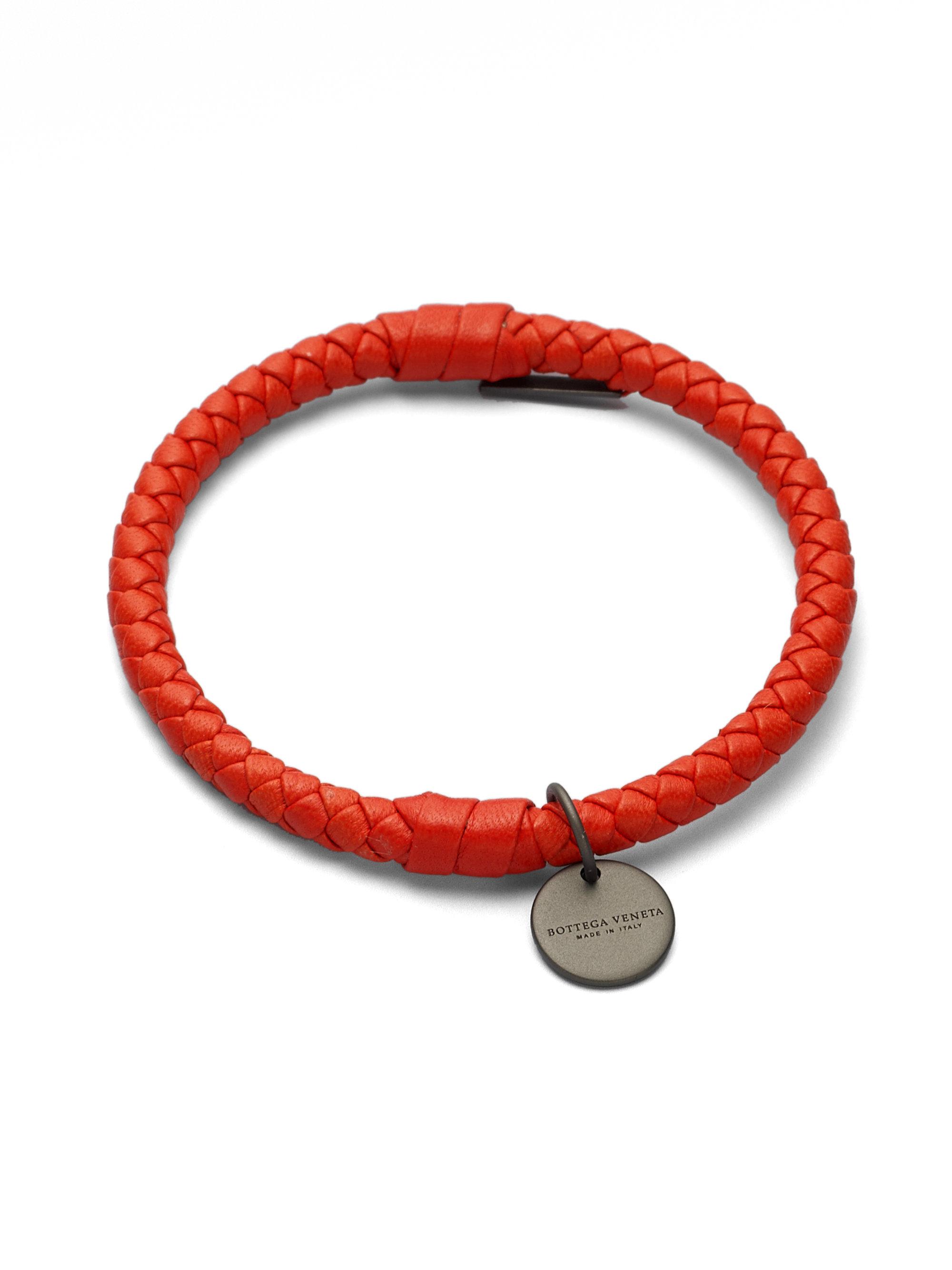 bottega veneta intrecciato leather bracelet in