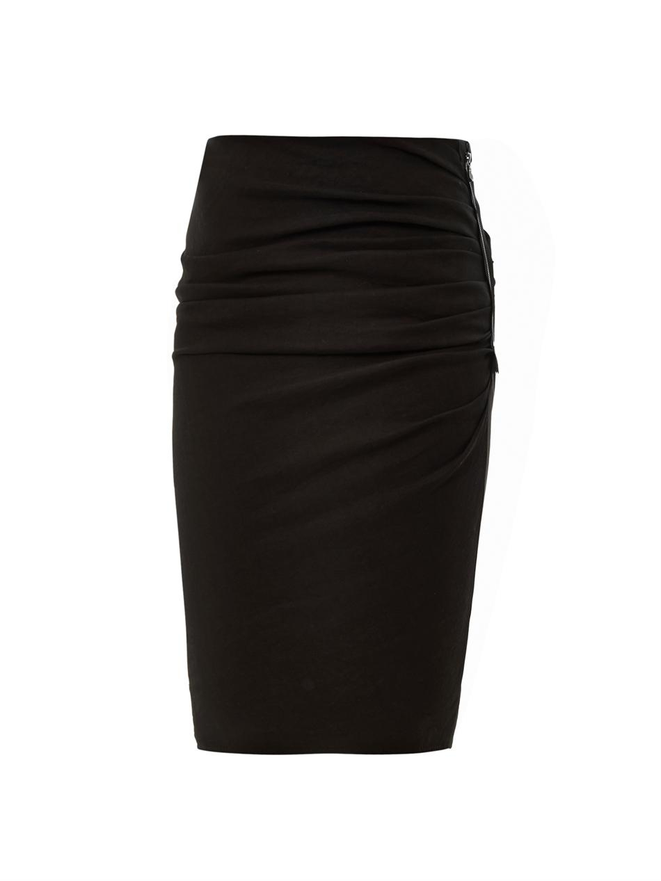 Lanvin Ruched Pencil Skirt in Black | Lyst