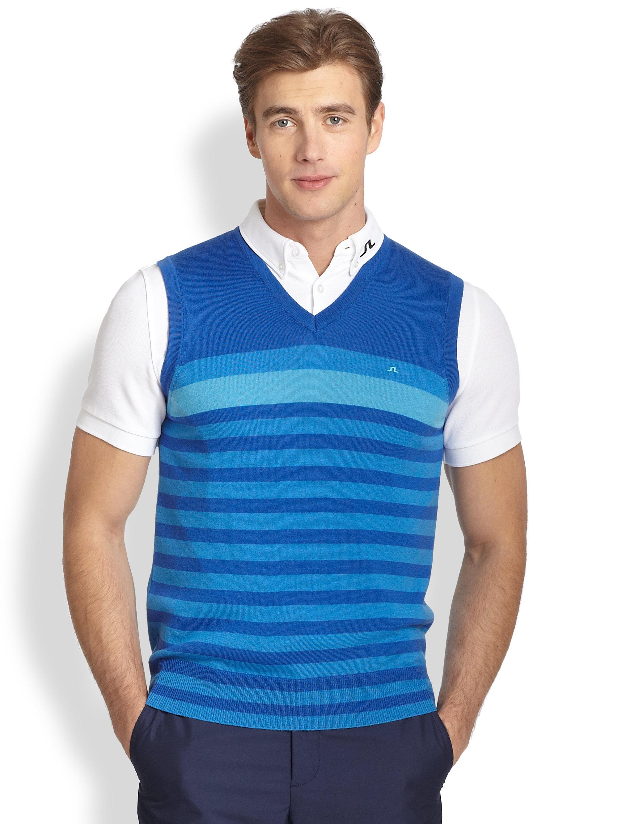 J.lindeberg Gunder Striped Merino Wool Vest in Blue for Men | Lyst