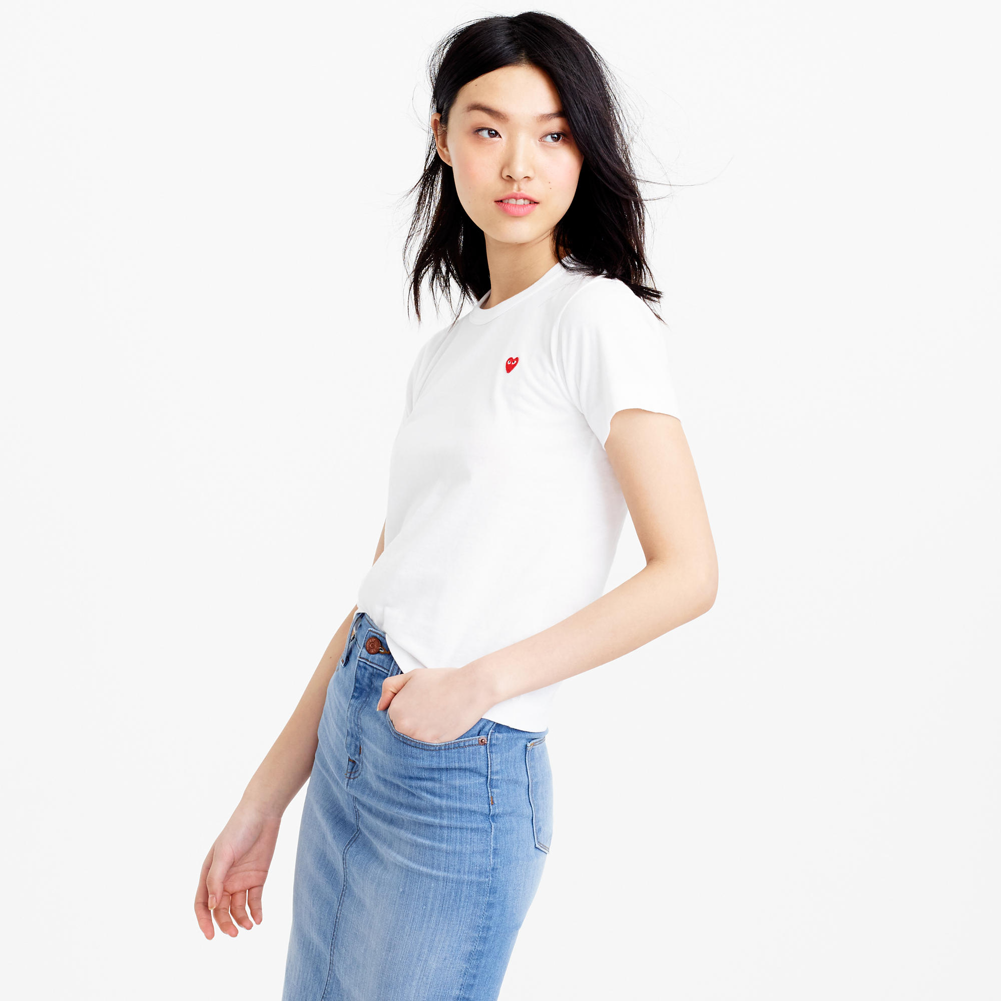 Play Comme Des Gar Ons Red Heart T Shirt In White