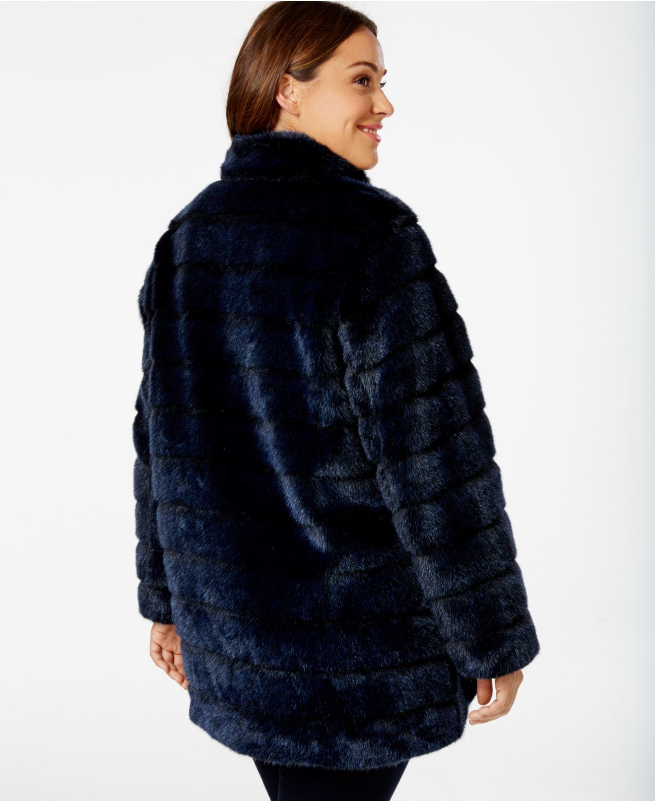 Laundry by shelli segal Plus Size Ribbed Faux-fur Coat in Blue | Lyst