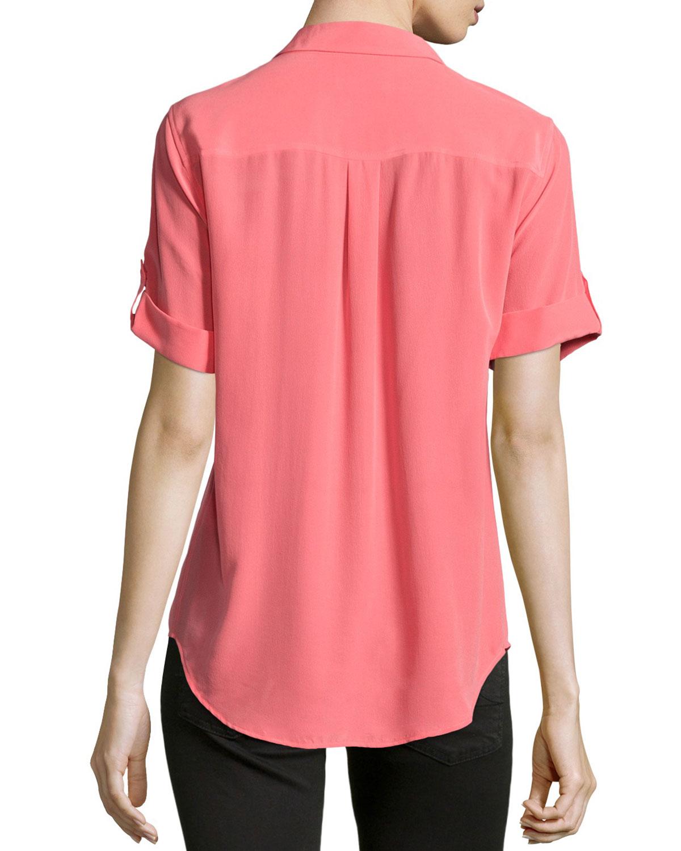 Lyst Equipment Slim Signature Short Sleeve Silk Shirt In