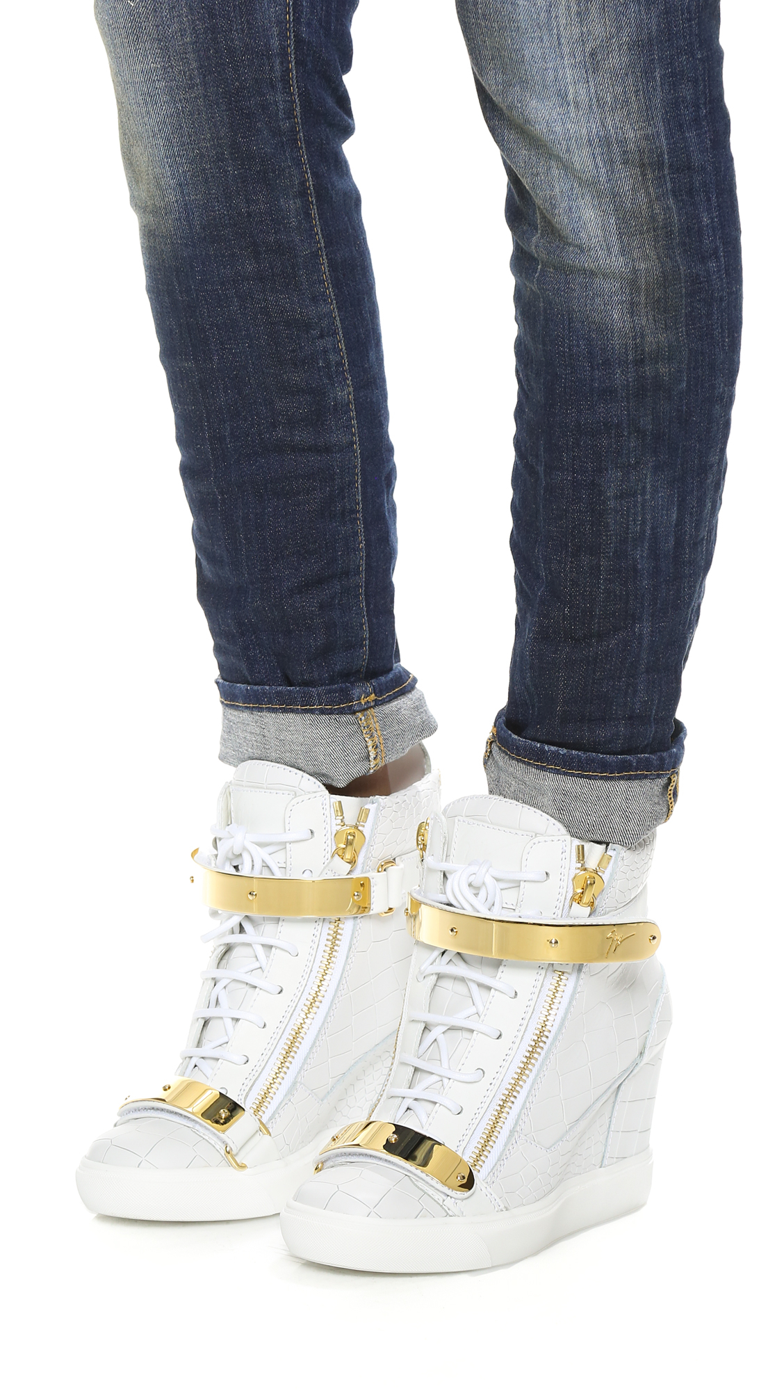0db57cad33487 Giuseppe Zanotti Embossed Lorenz Wedge Sneakers in Gray - Lyst