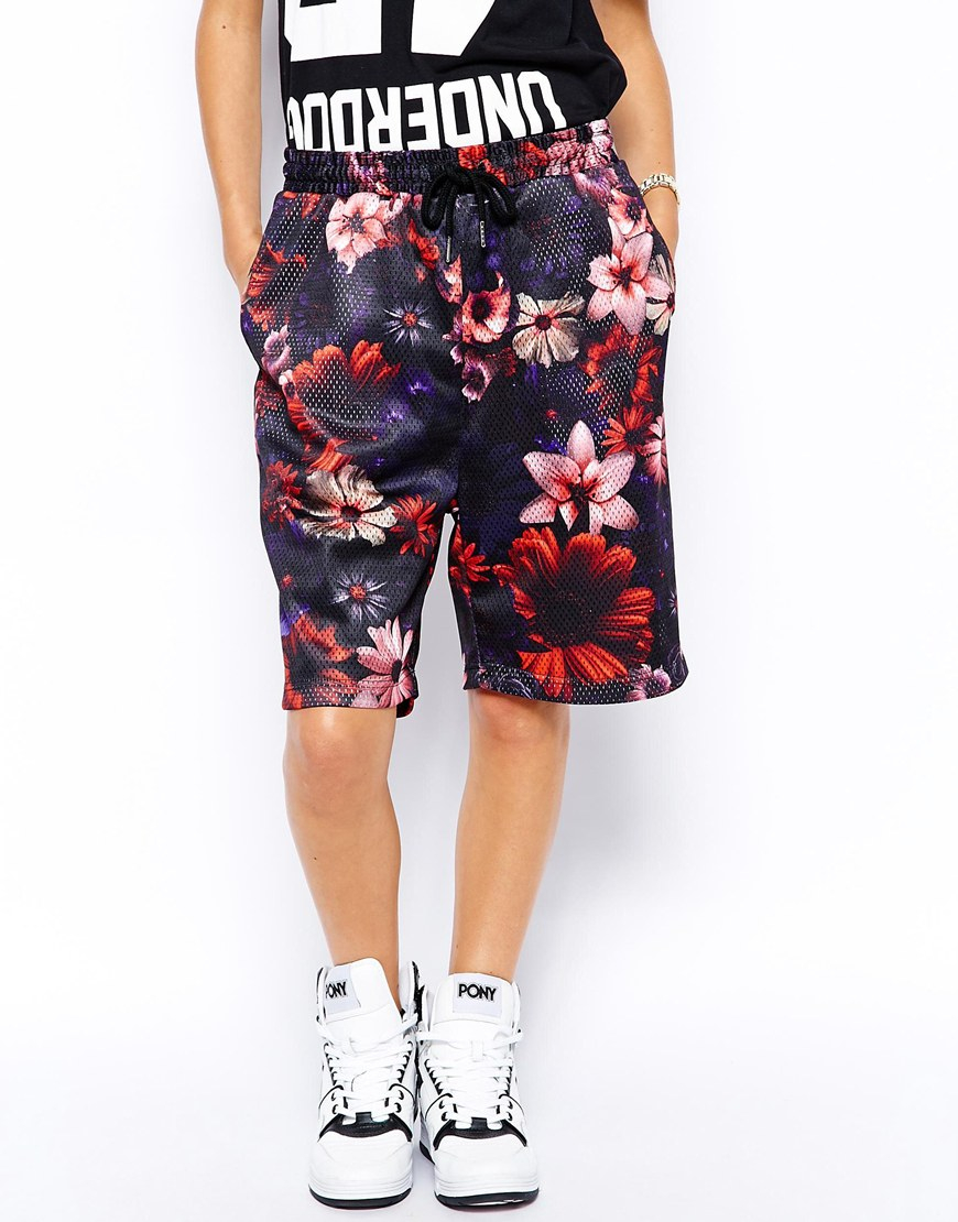 Criminal damage Basketball Shorts With All Over Flower ...
