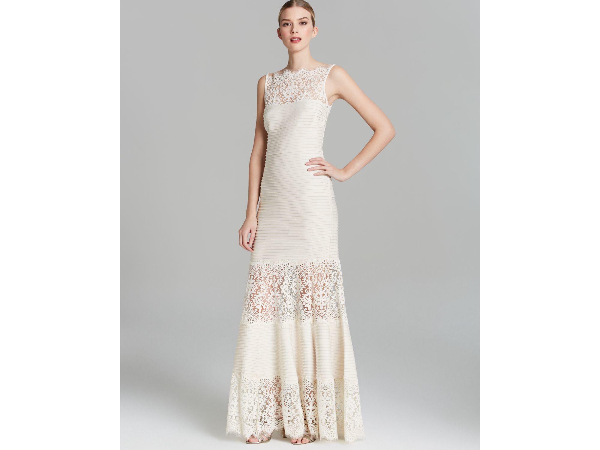 Lyst - Tadashi Shoji Sleeveless Ribbed Stretch Dress - With Lace ...