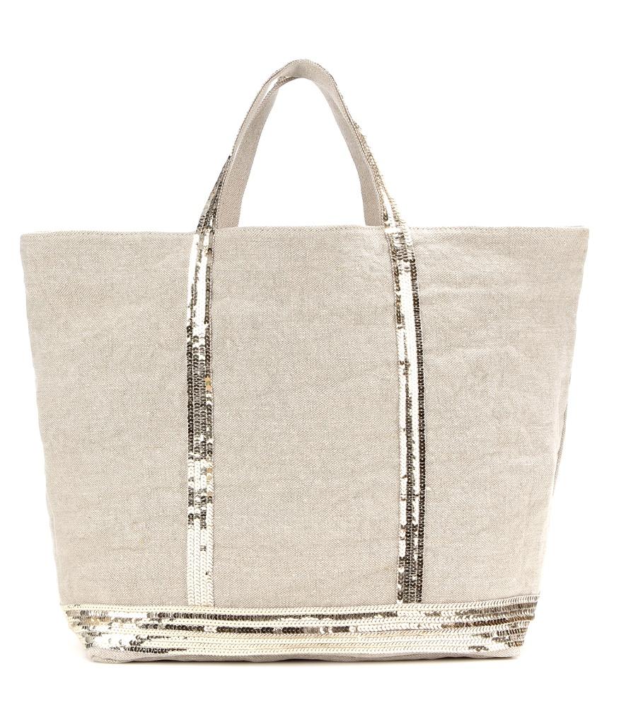 lyst vanessa bruno cabas large embellished canvas shopper in white. Black Bedroom Furniture Sets. Home Design Ideas