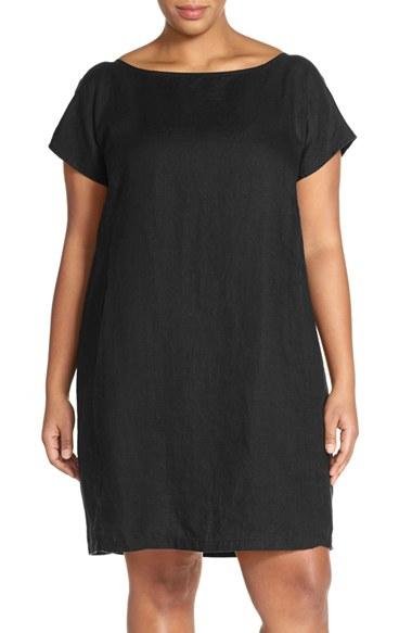 f35d877381 Lyst - Eileen Fisher Bateau Neck Organic Linen Shift Dress in Black