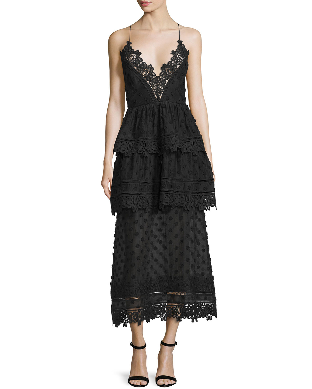 Self portrait Polka Dot Cotton Blend Midi Dress In Black