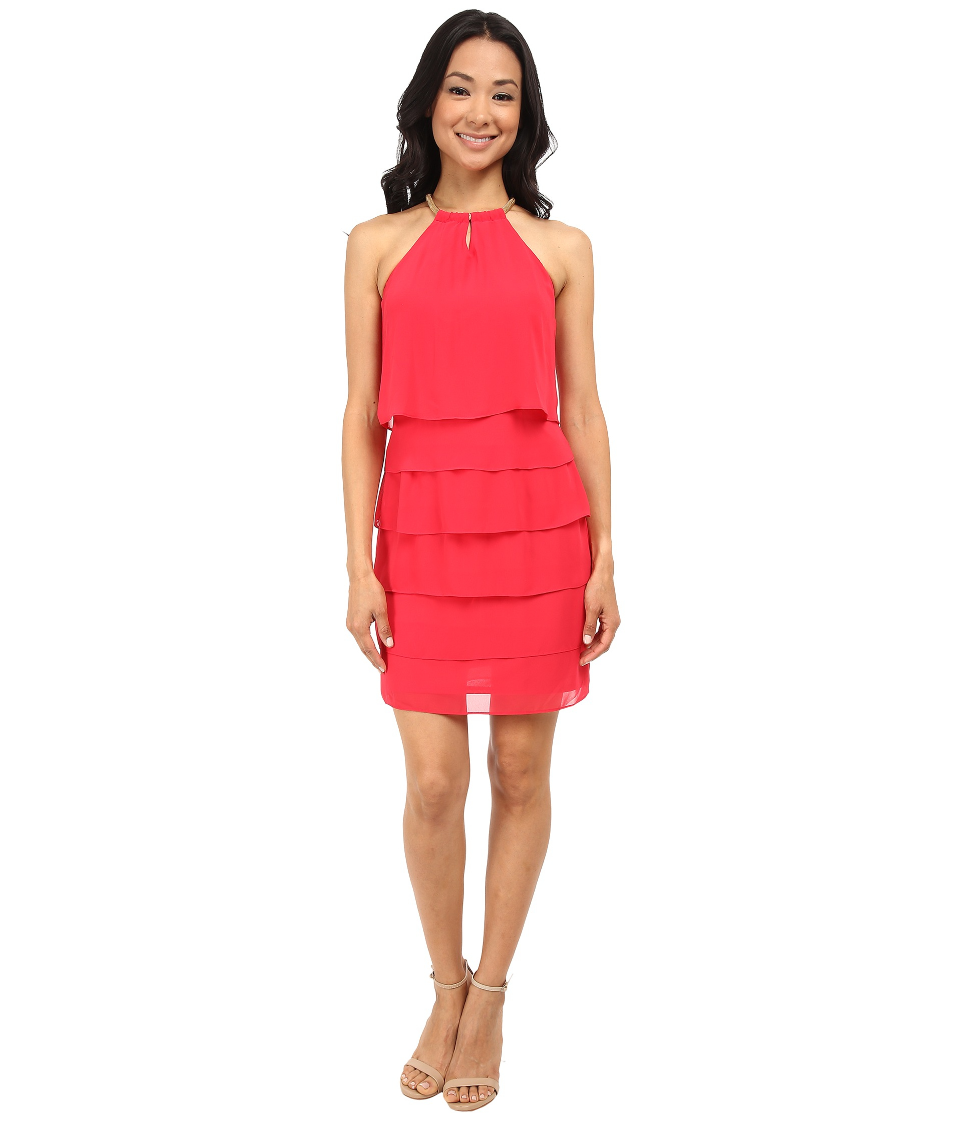 162ede29e4 Laundry by Shelli Segal Tiered Chiffon Cocktail Dress in Red - Lyst