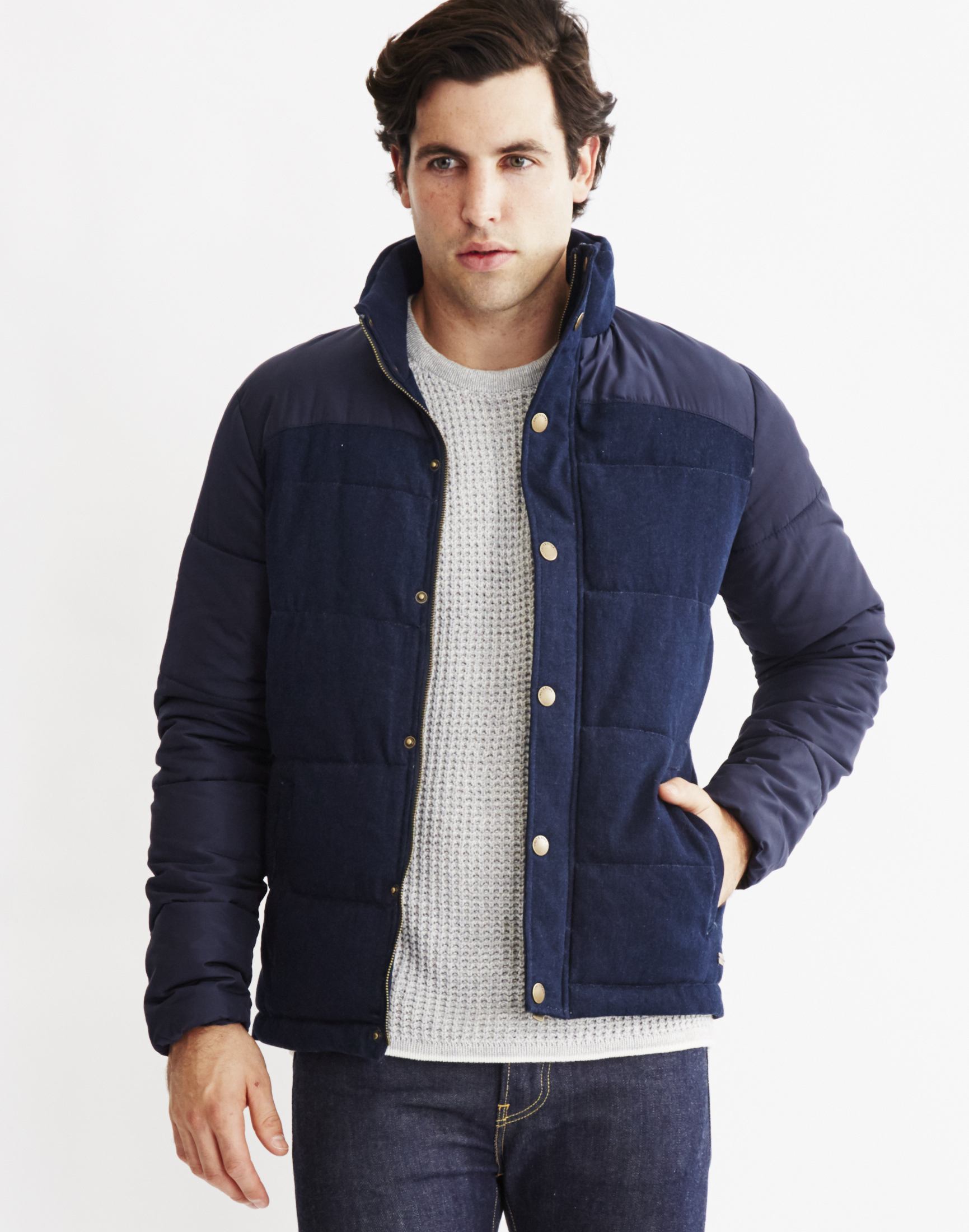 only amp sons mens bomber jacket navy in blue for men lyst