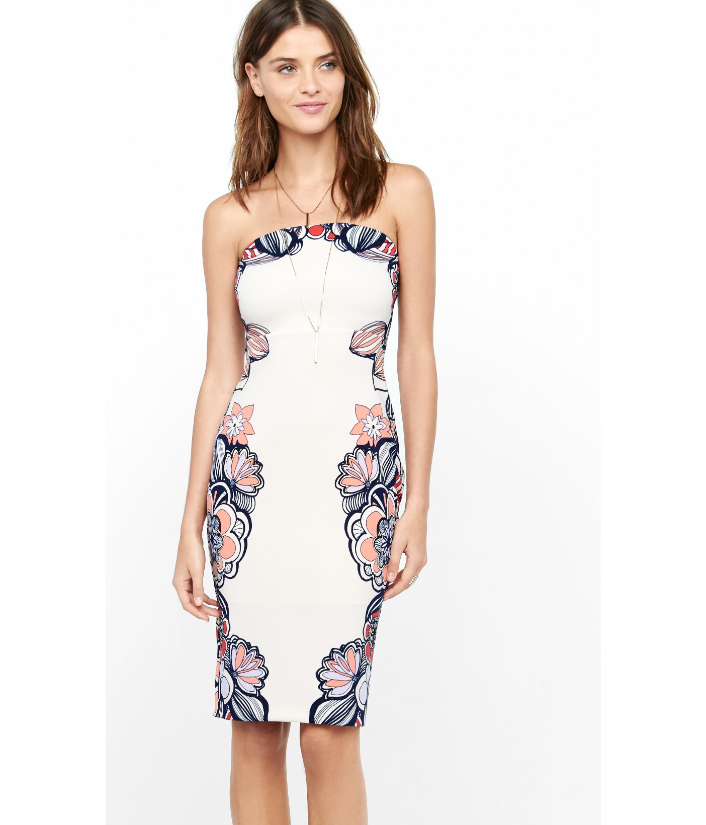 Express Pink Strapless Placed Floral Print Tube Dress in White  Lyst