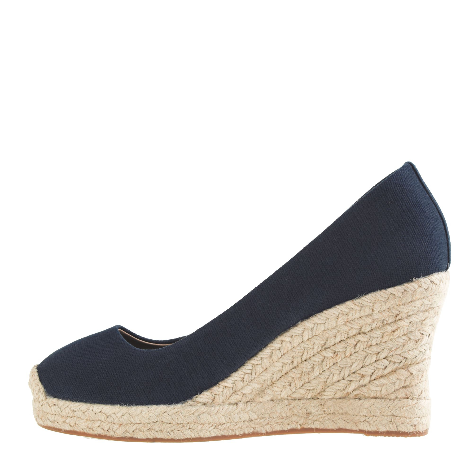 J Crew Seville Espadrille Wedges In Black Navy Lyst