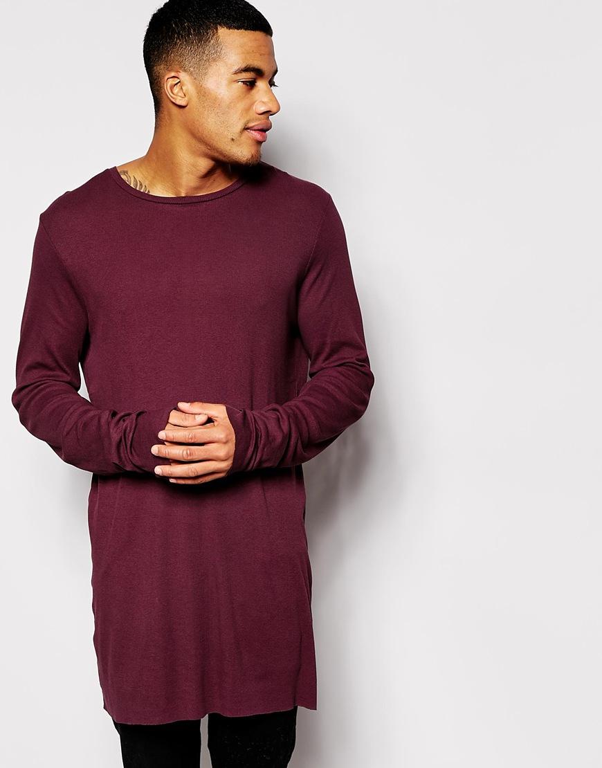 Asos Super Longline Long Sleeve T-shirt In Lightweight Rib Fabric ... 1644a355160