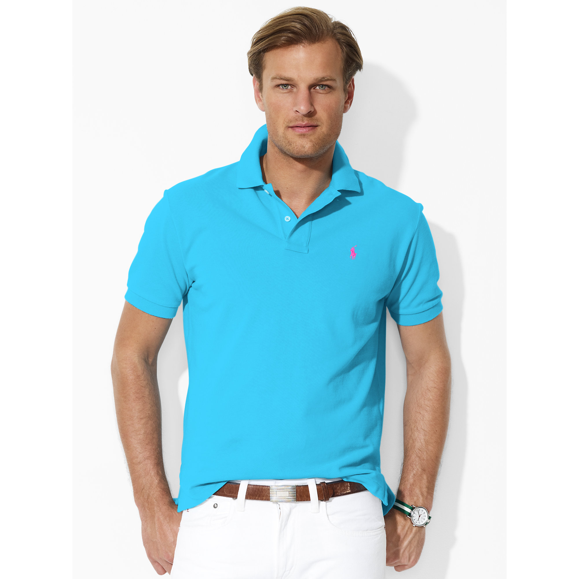 Lyst - Polo Ralph Lauren Classic-fit Mesh Polo in Blue for Men 1255f0c4080