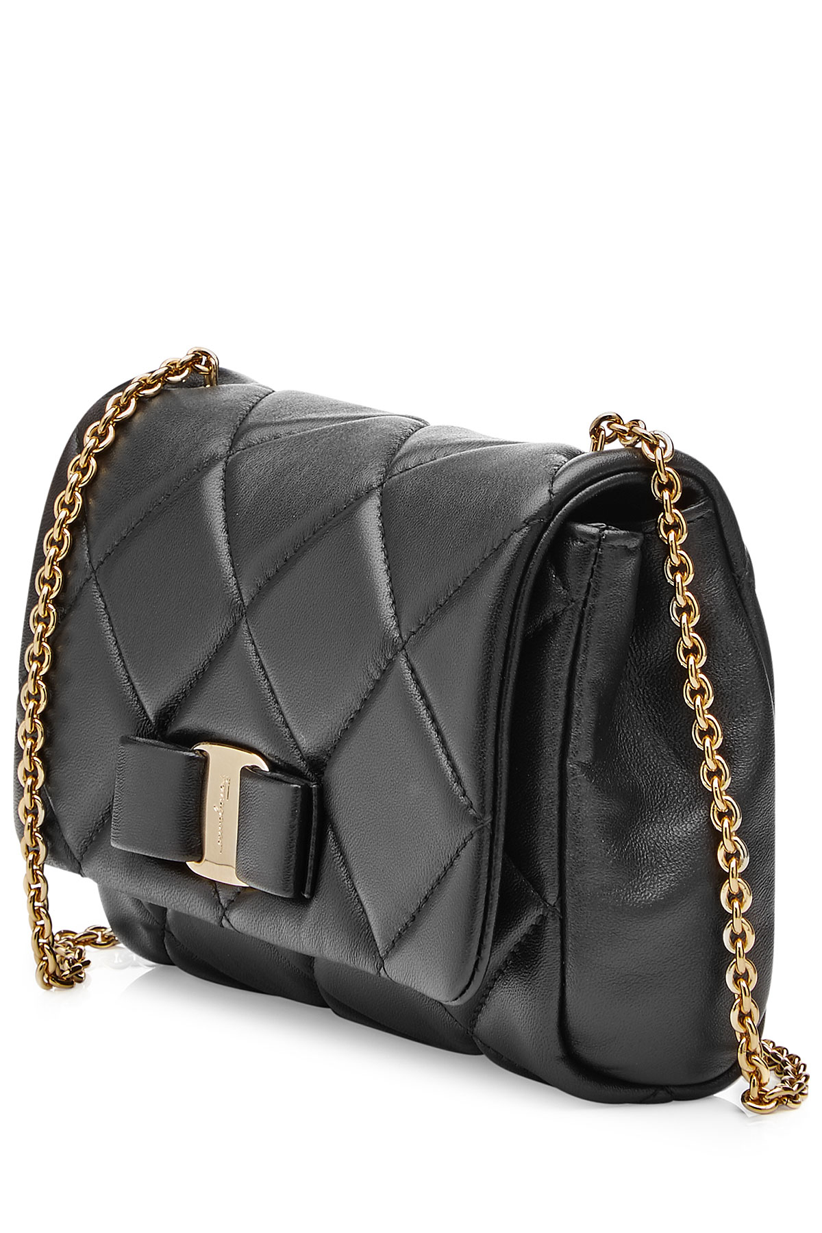 7b27413c0d Lyst - Ferragamo Gelly Mini Quilted Leather Shoulder Bag - Black in ...