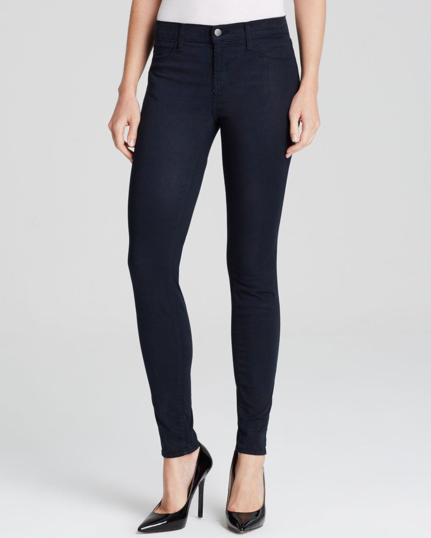 j brand jeans mid rise super skinny luxe sateen in blue velvet in blue blue velvet lyst. Black Bedroom Furniture Sets. Home Design Ideas