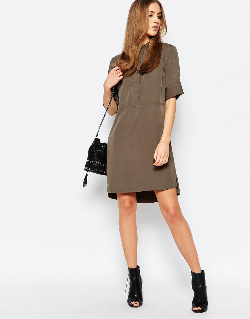 Warehouse Casual Shirt Dress in Natural - Lyst