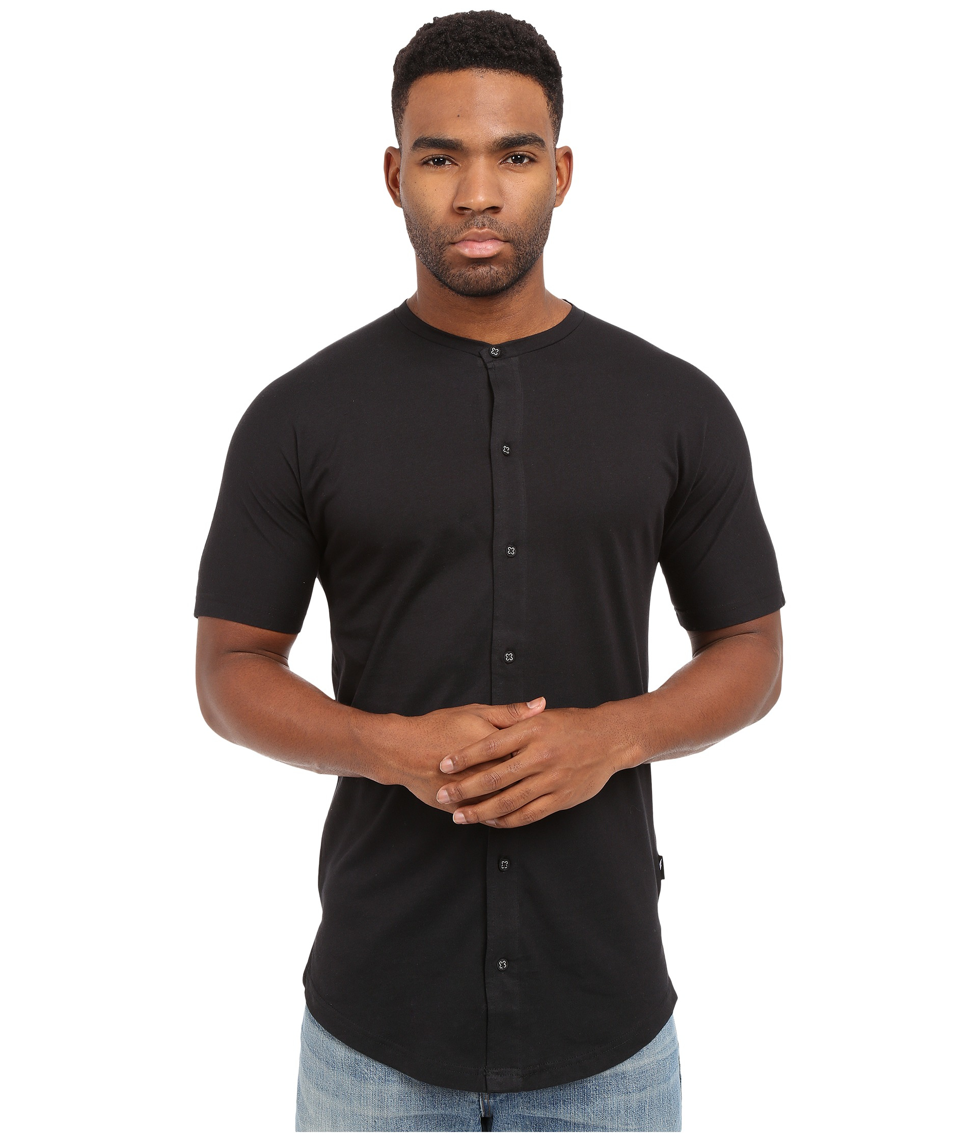 Timberland Malachy - Cotton Knit Seamless Short Sleeve Button Up ...